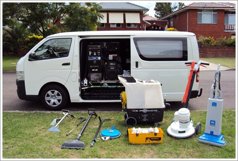 cleaning equipment in van