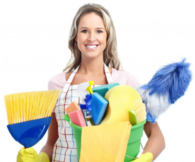 woman holding cleaning equipment